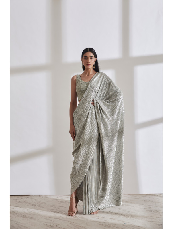 Metallic 2.0 Sari with Wave Crossover Top