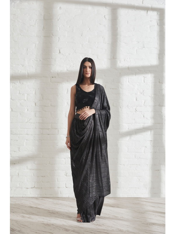Metallic 2.0 Sari with Milkyway Crossover Drop Top
