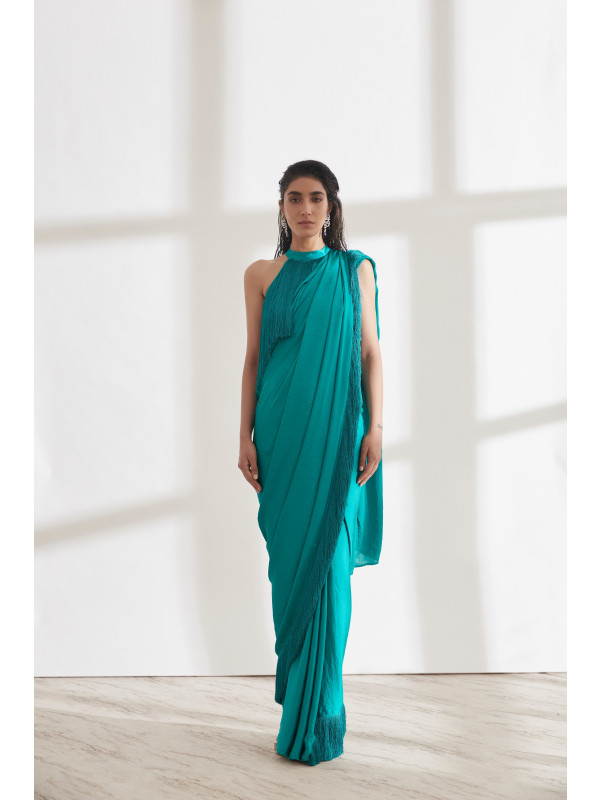 Noor Fringe Sari with Halter Fringe Top