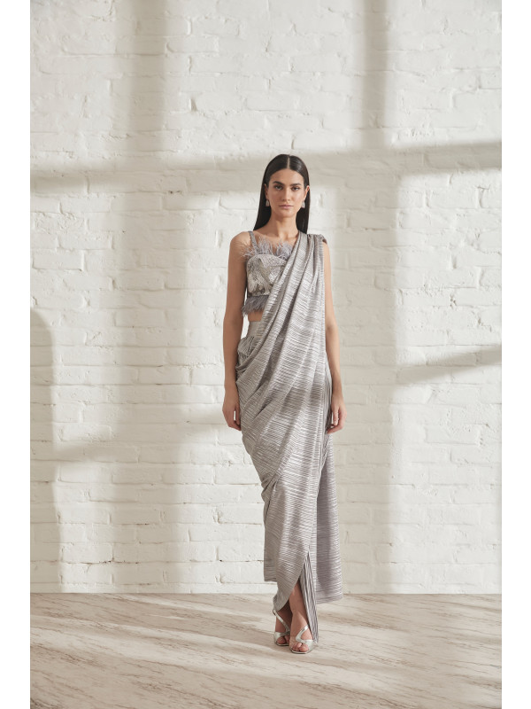 Metallic 2.0 Sari with Coral Bustier