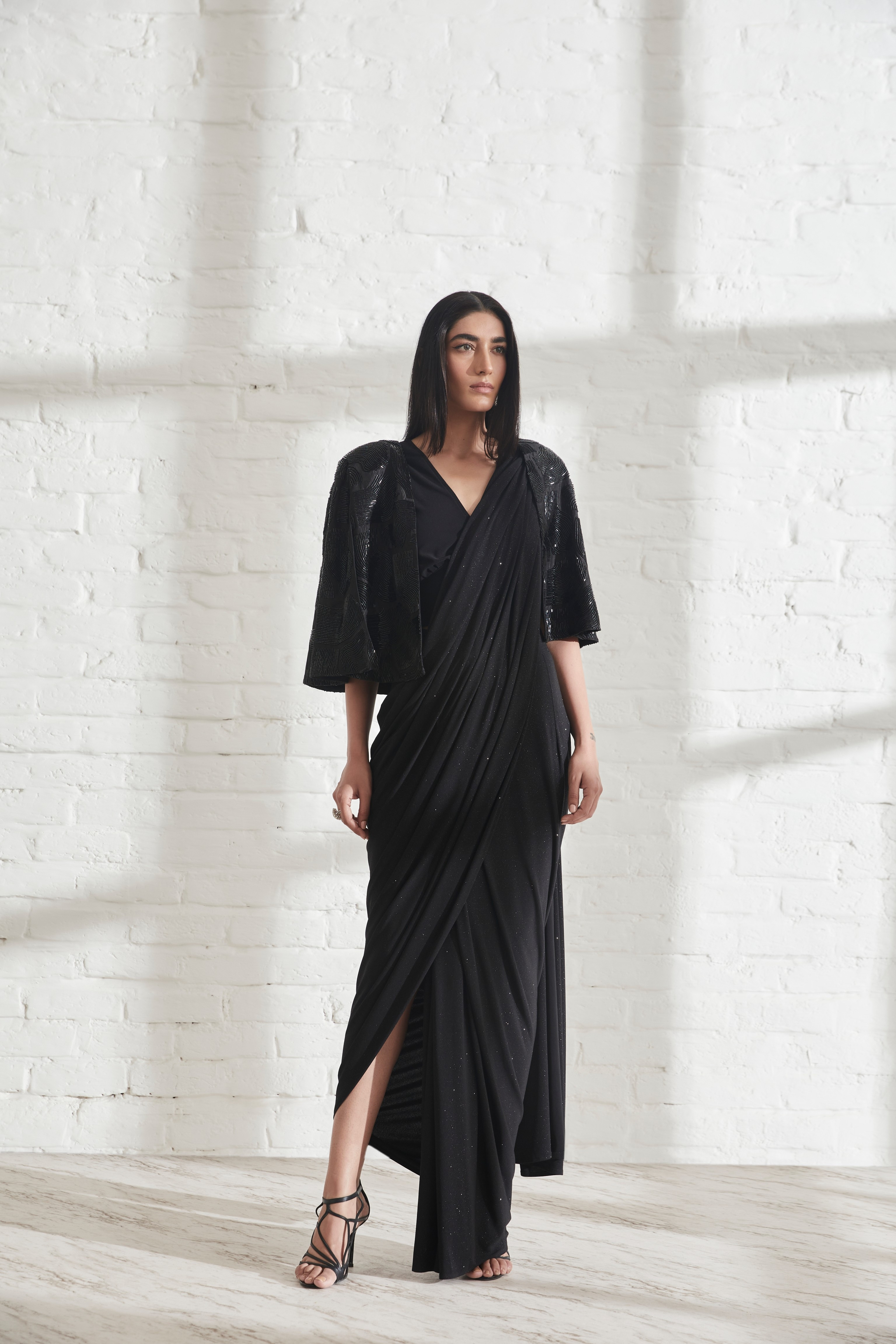 Star Jersey Sari with Muscle Tee and Wave Cape