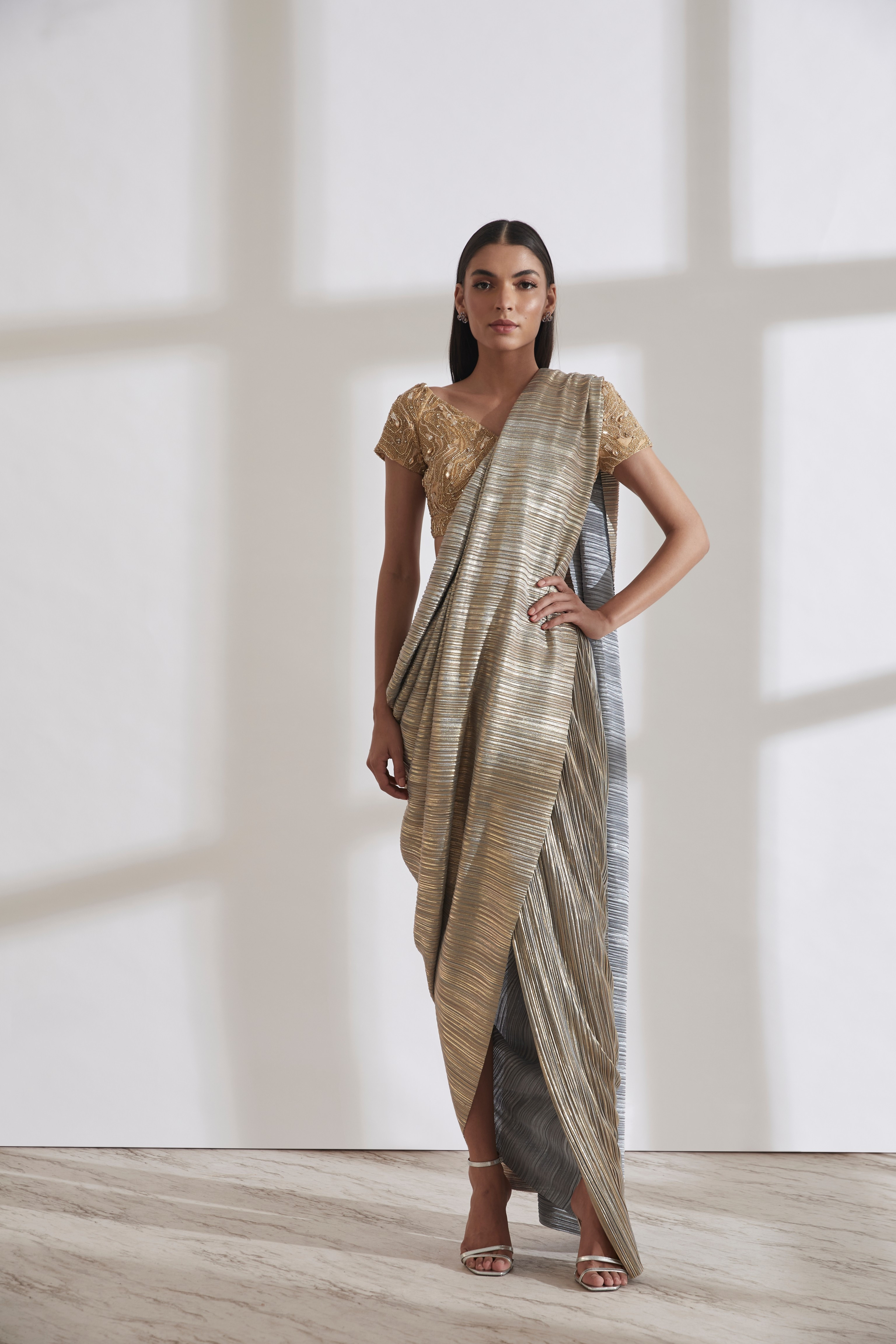 Metallic 2.0 Sari with River Flow Nikki Blouse